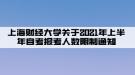 上海财经大学关于2021年上半年自考报考人数限制通知
