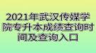 2021年武汉传媒学院专升本成绩查询时间及查询入口