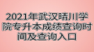 2021年武汉晴川学院专升本成绩查询时间及查询入口