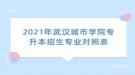 2021年武汉城市学院专升本招生专业对照表