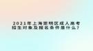 2021年上海崇明区成人高考招生对象及报名条件是什么?