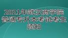 2021年武汉商学院普通专升本考试考生须知