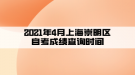 2021年4月上海崇明区自考成绩查询时间