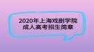 2020年上海戏剧学院成人高考招生简章