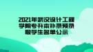 2021年武汉设计工程学院专升本补录预录取学生名单公示