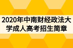 2020年中南财经政法大学成人高考招生简章