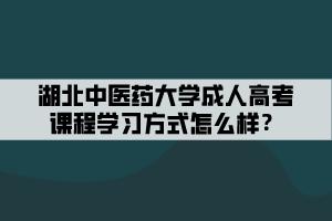 湖北中医药大学成人高考课程学习方式怎么样?