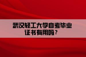 武汉轻工大学自考毕业证书有用吗?