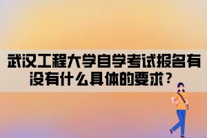 武汉工程大学自学考试报名有没有什么具体的要求?