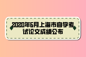 2020年6月上海市自学考试论文成绩公布
