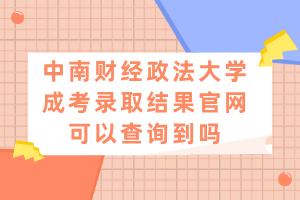 中南财经政法大学成考录取结果官网可以查询到吗