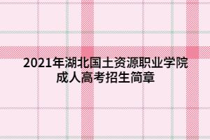2021年湖北国土资源职业学院成人高考招生简章 (1)